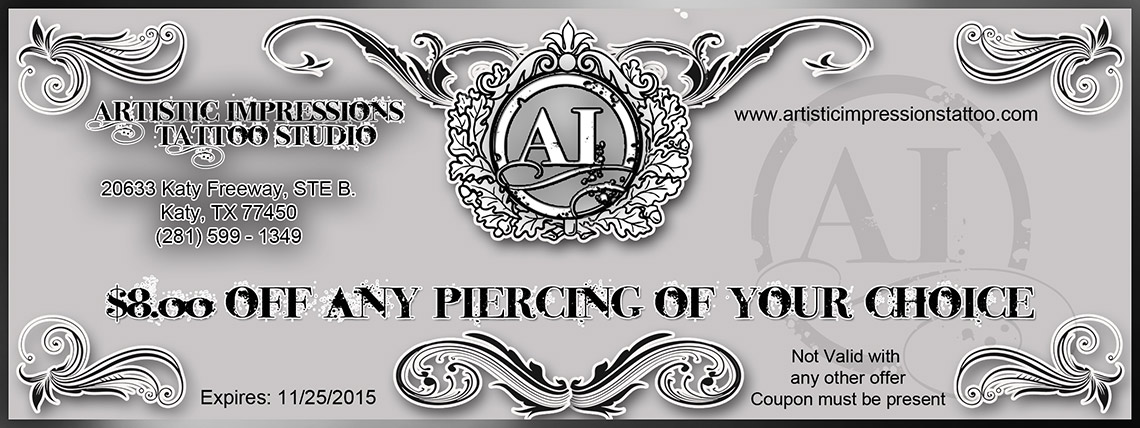 $8 Off Any Piercing Nov 2015